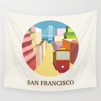 san francisco Wall Tapestries featuring San Francisco by uzualsunday