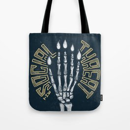 The Social Threat Skeleton Hand Poster Tote Bag
