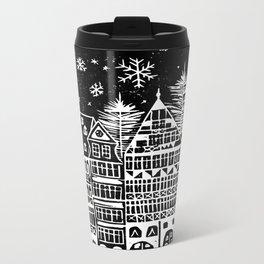 Linocut Holidays Metal Travel Mug