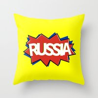 russia Throw Pillows featuring Russia by mailboxdisco