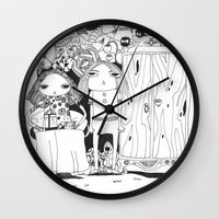 couple Wall Clocks featuring Couple by Mono Ahn