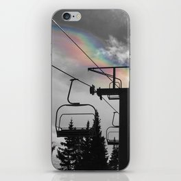 4 Seat Chair Lift Rainbow Sky B&W iPhone Skin