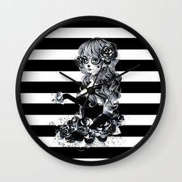 Black & White Sugar Skull Girl Wall Clock