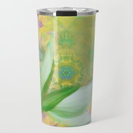 Bauhinia buds against textured green background Travel Mug