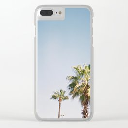 Palmtrees in Barcelona Europe | Blue Sky, Green Palm Trees Tropical vibe Clear iPhone Case