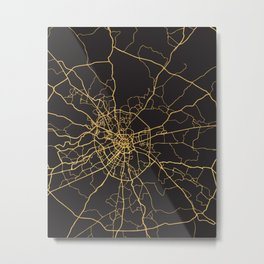 MOSCOW RUSSIA GOLD ON BLACK CITY MAP Metal Print