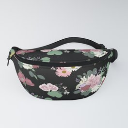 Pink Flowers with Eucalyptus Leaves on Black Fanny Pack