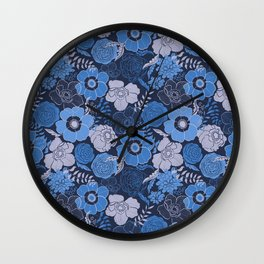 blue anemones and roses Wall Clock