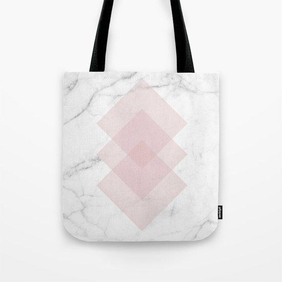 White Marble Scandinavian Geometric Blush Pink Squares Tote Bag