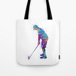 Boy Golf Player Beautiful Colorful Waterolor Art Tote Bag