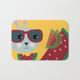 A hipster hungry rabbit Bath Mat