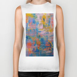 Summer in the Park, Blue Abstract Painting, Abstract wall art Biker Tank