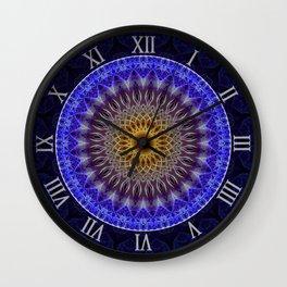 Blue mandala with yellow ornaments Wall Clock