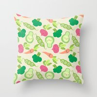 vegetable Throw Pillows featuring VEGETABLE PARTY! by Claudia Ramos Designs