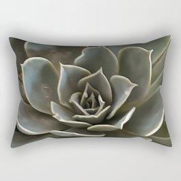 Garden Succulent Green Gray Tones Rectangular Pillow