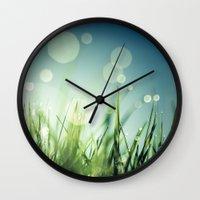 grass Wall Clocks featuring Grass  by Koka Koala