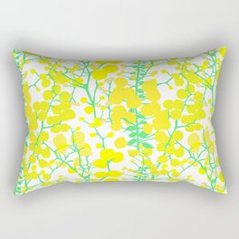 Australian Golden Wattle Flowers in White Rectangular Pillow