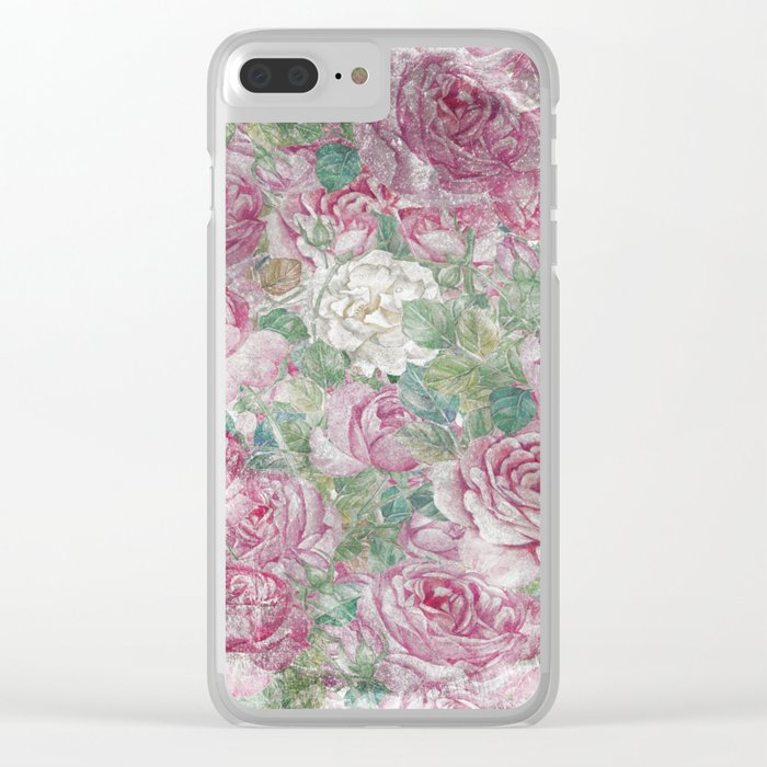 Vintage & Shabby-chic - floral roses flowers rose flower Clear iPhone Case