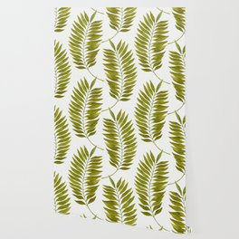 Olive Green Watercolor Palm Leaves Pattern Wallpaper