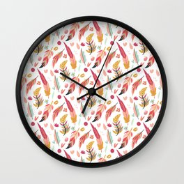 Bohemian pastel pink orange teal hand painted feathers Wall Clock