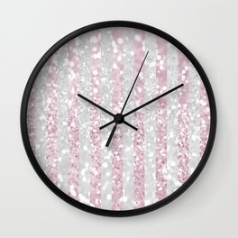 Elegant pink white faux glitter stripes pattern  Wall Clock