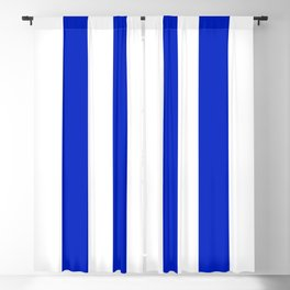 Cobalt Blue and White Wide Circus Tent Stripe Blackout Curtain