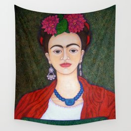 Frida Kahlo portrait with dalias Wall Tapestry
