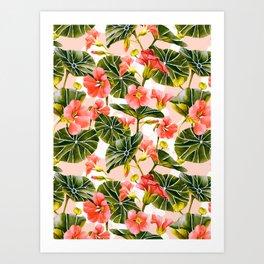 Flowering garden nasturtiums Art Print