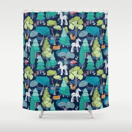 Geometric whimsical wonderland // navy blue background green forest with unicorns foxes gnomes and mushrooms Shower Curtain