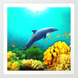Dolphin in Water Art Print