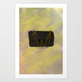 Classic black quilted flap bag Art Print