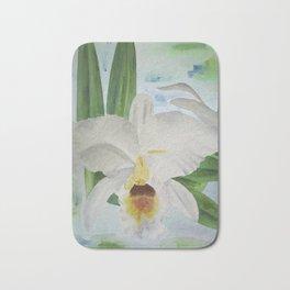 White orchid Cattleya Gaskelliana Bath Mat