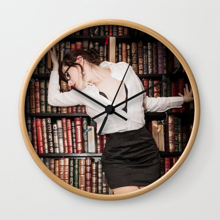 """""""Hot for Reading"""" - The Playful Pinup - Sexy Librarian Pin-up Girl by Maxwell H. Johnson Wall Clock"""
