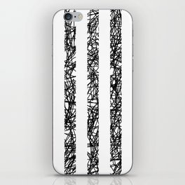 Scribble Bars - Abstract, stripy, stripey, black ink scribbles pattern, black and white iPhone Skin