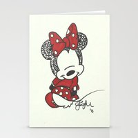 minnie mouse Stationery Cards featuring Minnie Mouse Zen Tangle by Jadie Miller