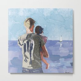 Father and Daughter Looking at the Sea Metal Print