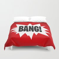 bazinga Duvet Covers featuring Bang! by Nxolab