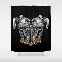 super heroes Shower Curtains featuring Super Heroes Bruce Wayne suit by KomarWork