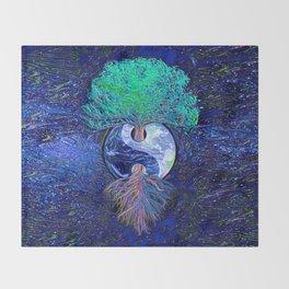 Tree of Life Yin Yang Earth Space Throw Blanket