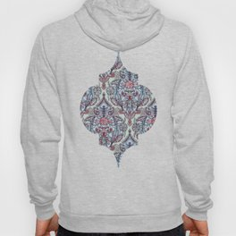 Botanical Moroccan Doodle Pattern in Navy Blue, Red & Grey Hoody