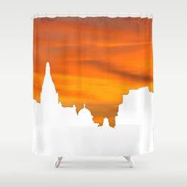 Sunset over London skyline bywhacky Shower Curtain
