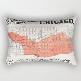 Map showing the burnt district of Great Chicago Fire Rectangular Pillow
