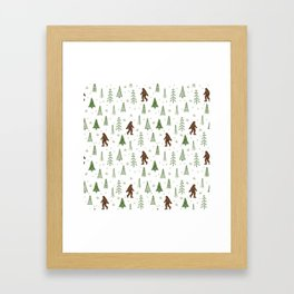 trees + yeti pattern in color Framed Art Print