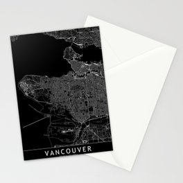 Vancouver Black Map Stationery Cards