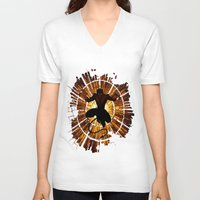 nightcrawler V-neck T-shirts featuring Night Stained Glass by Daniac Design