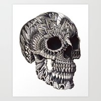 ornate Art Prints featuring Ornate Skull by BIOWORKZ