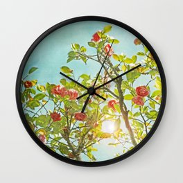 Pink Camellia japonica Blossoms and Sun in Blue Sky Wall Clock