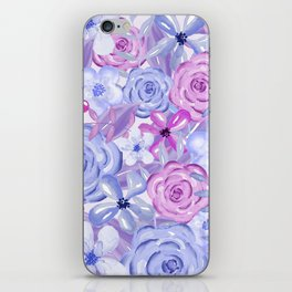 Watercolor Flowers Purple and Blue iPhone Skin