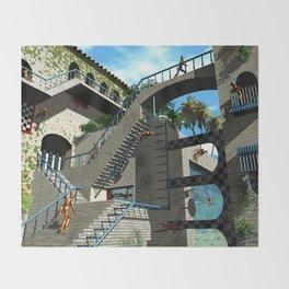 Optical Illusion - Tribute to Escher Throw Blanket