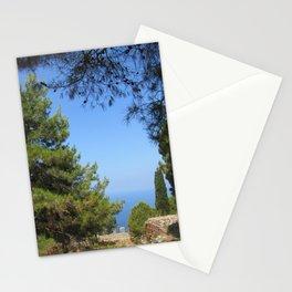Pine tree, sea and sky landsape Stationery Cards